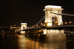 Chain Bridge of Budapest by night Stock Photos