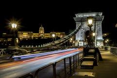 Chain Bridge in Budapest. Night Chain Bridge in Budapest Royalty Free Stock Photo