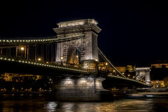 Chain Bridge in Budapest. At night Royalty Free Stock Photo