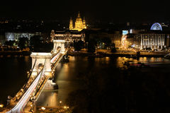 The Chain Bridge in Budapest at Night. The Chain Bridge and Budapest Hungary at Night Stock Images