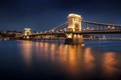 Chain Bridge, Budapest. Chain Bridge in night, Budapest, Hungary stock photos