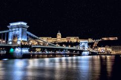 Chain bridge in Budapest. Night lights at the chain bridge of Budapest Royalty Free Stock Image