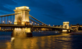 Chain Bridge in Budapest. Night photograph of the Chain Bridge in Budapest, Hungary Royalty Free Stock Images