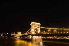 Chain bridge in Budapest night shot Royalty Free Stock Photo