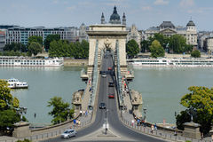 Chain bridge, Budapest. Chain bridge over Danube in Budapest, Hungary Royalty Free Stock Image
