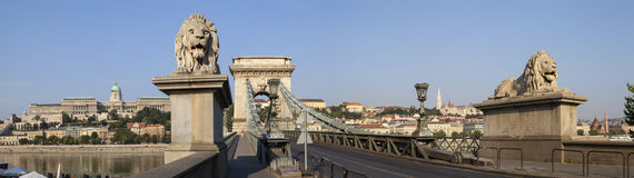 Chain Bridge in Budapest Panorama royalty free stock photography