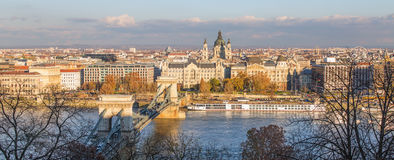 Chain Bridge in Budapest during sunrise. Royalty Free Stock Image