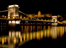 Chain bridge (Budapest). The Széchenyi Chain Bridge is a suspension bridge that spans the River Danube between Buda and Pest, the western and eastern sides of royalty free stock photo
