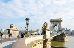 Chain Bridge in Budapest. Szechenyi Lanchid is a bridge over the River Danube. Stock Photo