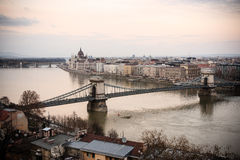 Chain Bridge, Budapest. View over the Budapest Chain Bridge, the Danube and the Hungarian Parliament Royalty Free Stock Image