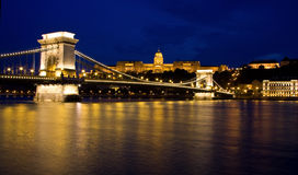 Chain bridge and castle Budapest, Hungary Royalty Free Stock Photo