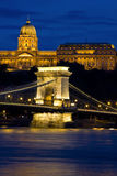Chain bridge and Castle Budapest, Hungary Royalty Free Stock Image