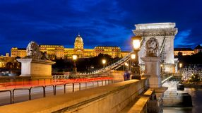 Chain Bridge of Budapest at night stock image