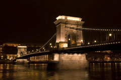 Chain bridge castle budapest by night. Budapest bridge chain by night long exposure of danube Stock Image
