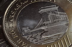 Chain Bridge Coin. The new coin of Hungary depicting the famous Chain Bridge of Budapest Stock Photo
