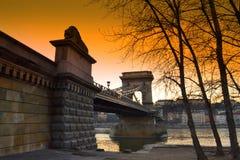 Chain Bridge colorful sunset Budapest Stock Images