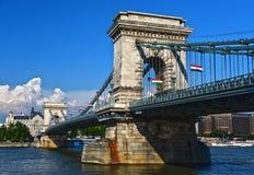 Chain Bridge on Danube in Budapest Royalty Free Stock Photos