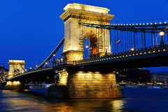 Chain Bridge on Danube in Budapest by night Royalty Free Stock Photo