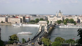 Chain bridge on Danube river Royalty Free Stock Photos