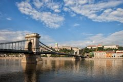 Chain Bridge on Danube River in Budapest royalty free stock photography