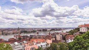 Chain bridge on Danube river in Budapest city. Hungary. Urban landscape panorama with old buildings. In summer time stock image