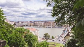 Chain bridge on Danube river in Budapest city. Hungary. Urban landscape panorama with old buildings. In summer time royalty free stock photo