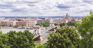 Chain bridge on Danube river in Budapest city. Hungary. Urban landscape panorama with old buildings. In summer time royalty free stock image