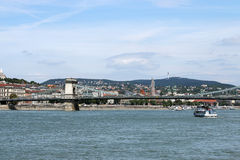 Chain bridge on Danube river Budapest Royalty Free Stock Photos