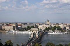 Chain bridge on Danube river Budapest Stock Images