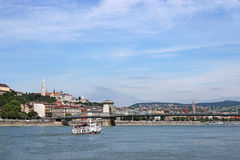 Chain bridge on Danube river Budapest Stock Photography