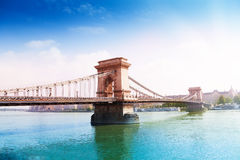 Chain bridge on Danube river in Budapest, Hungary Royalty Free Stock Image