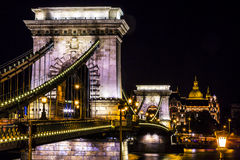 Chain Bridge Danube River St Stephens Cathedral Budapest Hungary Stock Photo