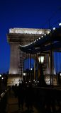 Chain Bridge detail. Detail of lighted Chain Bridge in Budapest, Hungary Royalty Free Stock Photography