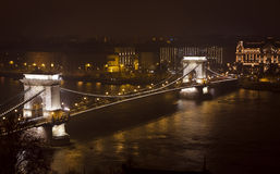 Chain Bridge and Dunabe river at night. Budapest, Hungary Royalty Free Stock Photos
