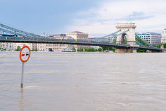 Chain Bridge at flood. Budapest and Chain Bridge during the big flood in 2013 Royalty Free Stock Image