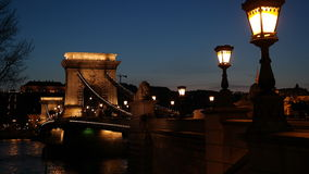 Chain Bridge. Historical and the most famous bridge in Budapest at night Stock Image