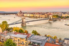 Chain Bridge and Hungarian Parliament Building at sunset time Stock Photo