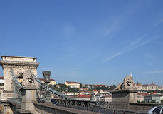 Chain bridge with lion statues. Budapest stock images