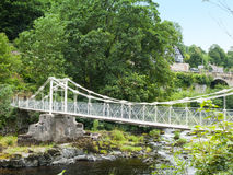 Chain bridge in Llangollen Wales UK. Chain bridge over the River Dee in Llangollen Denbighshire Wales UK Stock Images