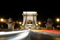 Chain bridge at night Royalty Free Stock Photography