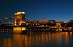 Chain Bridge at night Stock Images