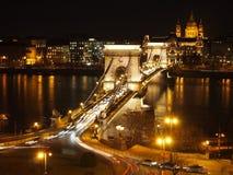 Chain Bridge at night. Chain Bridge in Budapest, Hungary Royalty Free Stock Images