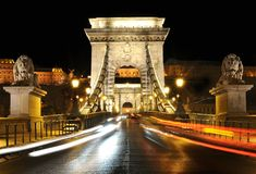 Chain Bridge at Night, Budapest. This is the famous Chain Bridge in Budapest, Hungary. The Hungarian name of the 203 meters long bridge is Lánchíd or Szé Stock Photos