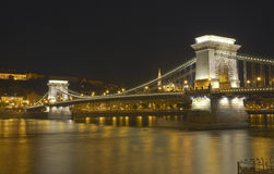 Chain Bridge at night in Budapest. HDR. Royalty Free Stock Photo