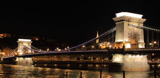 Chain Bridge by night in Budapest royalty free stock images