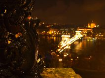 Chain Bridge at night stock images