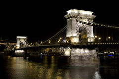 Chain Bridge at night in Budapest. Hungary Royalty Free Stock Photo