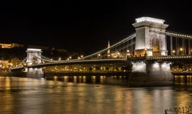 Chain Bridge at night in Budapest. Royalty Free Stock Photos