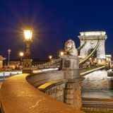 Chain bridge at night in Budapest Hungary. Chain bridge at night in Budapest, Hungary stock photography