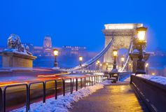 Chain Bridge at night,  Budapest, Hungary Royalty Free Stock Photos